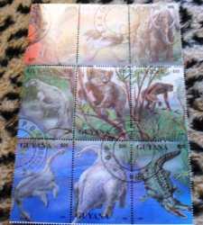 Guyana, Prehistoric animals, 9stamps