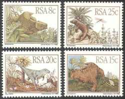 South Africa, Prehistoric animals, 1982, 4 stamps