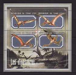 Tchad, Prehistoric animals, 2001, 4stamps