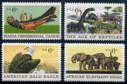 Prehistoric animals, USA, 1970, 4stamps
