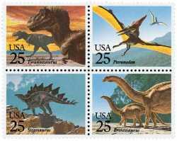 Prehistoric animals, USA, 1989, 4stamps