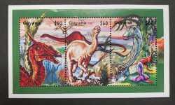 Guyana, Prehistoric animals, 1999, 3stamps