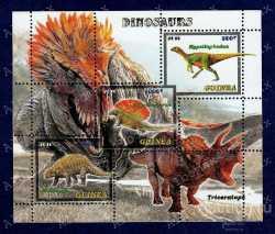 Guinea, Prehistoric animals, 2016, 3stamps