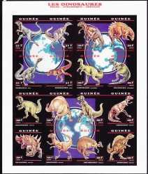 Guinea, Prehistoric animals, 1993, 16stamps (imperf.)