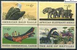 USA, Prehistoric animals, 1970, 4stamps