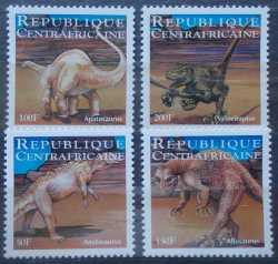 Central African Republic, Prehistoric animals, 4 stamps