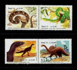 Brazil, Prehistoric animals, 1991, 4 stamps