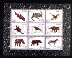 Tuva, Prehistoric animals, 9stamps