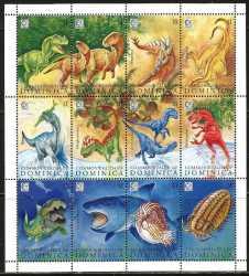 Dominica, Prehistoric animals, 1995, 12stamps