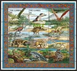 Gambia, Prehistoric animals, 1995, 12stamps