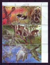 Guyana, Prehistoric animals, 1993, 9stamps