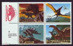 USA, Prehistoric animals, 1989, 4stamps