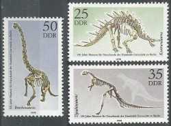GDR, Prehistoric animals, 1990, 3stamps