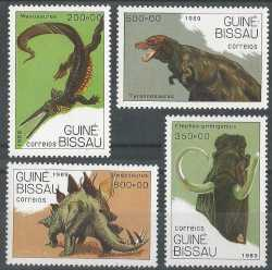 Guinea-Bissau, Prehistoric animals, 1989, 4stamps