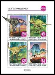 Central African Republic, Prehistoric animals, 2020, 4stamps