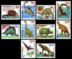 Prehistoric animals, Poland, 1965, 10stamps