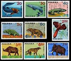 Prehistoric animals, Poland, 1966, 9stamps