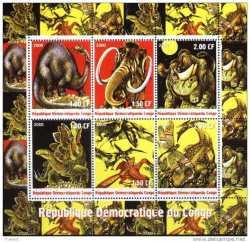 Prehistoric animals, Congo, 6stamps