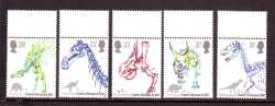 United Kingdom, Prehistoric animals, 1991, 5 stamps