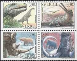 Sweden, Prehistoric animals, 1992, 4stamps