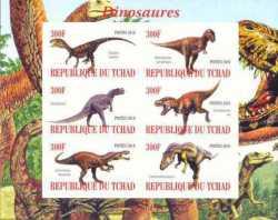 Доисторические животные, Чад, 2010, 6шт. (б/з)