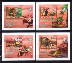 Sao Tome and Principe, Prehistoric animals, 2007, 4 stamps (imperf.)