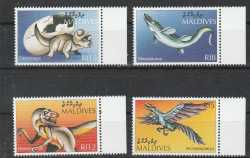 Maldives, Prehistoric animals, 4stamps