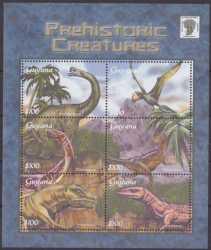 Guyana, Prehistoric animals, 2002, 6stamps