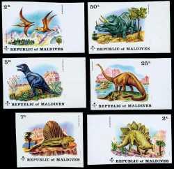 Maldives, Prehistoric animals, 1972, 6stamps (imperf.)