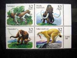 USA, Prehistoric animals, 1996, 4stamps