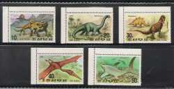 North Korea, Prehistoric animals, 1991, 5 stamps