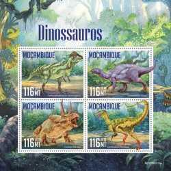 Mozambique, Prehistoric animals, 2019, 4stamps