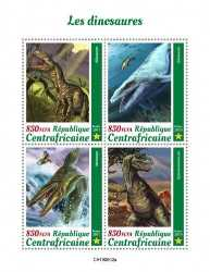 Central African Republic, Prehistoric animals, 2019, 4stamps