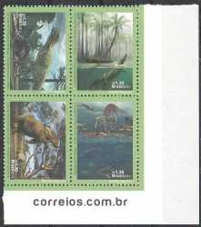 Brazil, Prehistoric animals, 2014, 4 stamps
