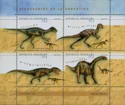 Argentina, Prehistoric animals, 1998, 4 stamps
