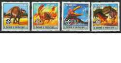 Sao Tome and Principe, Prehistoric animals, 2004, 4stamps