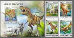 Central African Republic, Prehistoric animals, 2020, 5stamps