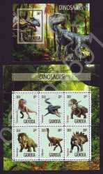Gambia, Prehistoric animals, 2019, 7 stamps