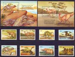 Uganda, Prehistoric animals, 1992, 10stamps