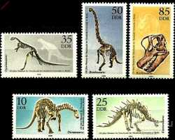 GDR, Prehistoric animals, 1990, 5 stamps