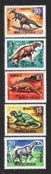 Mongolia, Prehistoric animals, 1967, 5stamps