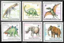 Hungary, Prehistoric animals, 1990, 6stamps