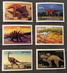 Gambia, Prehistoric animals, 1997, 6 stamps