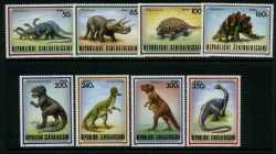 Central African Republic, Prehistoric animals, 1988, 8stamps