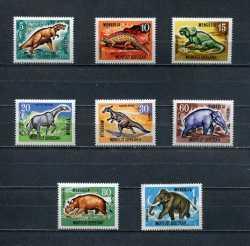 Mongolia, Prehistoric animals, 1967, 8stamps