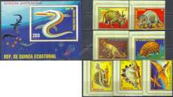 Equatorial Guinea, Prehistoric animals, 1978, 8 stamps (imperf.)