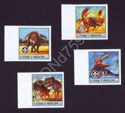 Sao Tome and Principe, Prehistoric animals, 2004, 4 stamps (imperf.)