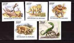 Burundi, Prehistoric animals, 2012, 5stamps (imperf.)