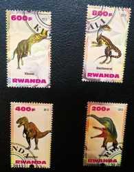 Rwanda, Prehistoric animals, 4stamps